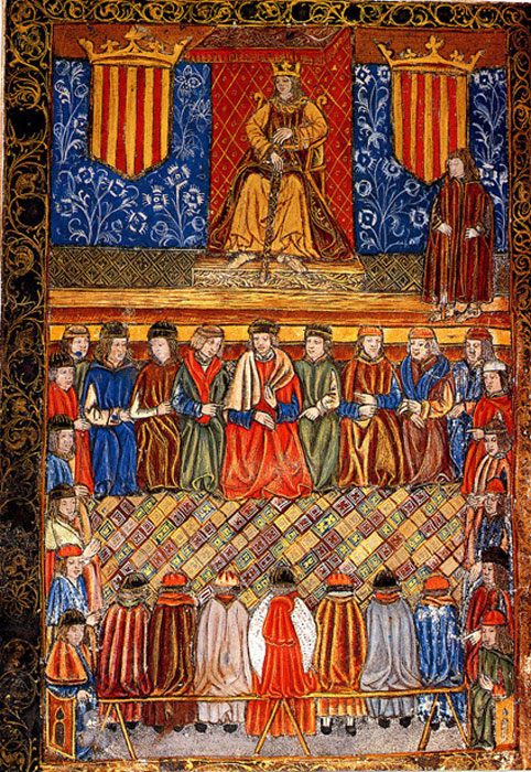Ferdinand II of Aragon on his throne flanked by two shields with the emblem of the royal signet. Frontis of a 1495 edition of the Catalan Constitutions