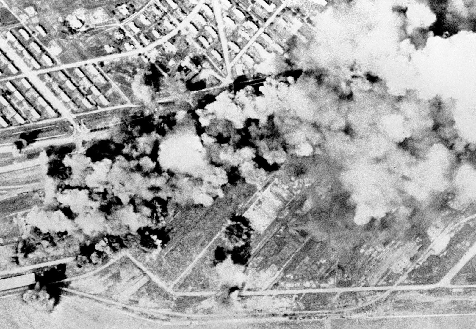 A North Korean rail yard at Rashin turned into a scene of boiling fury after B-29 Superforts dropped a heavy tonnage of high explosives, August 25, 1951. (AP Photo)